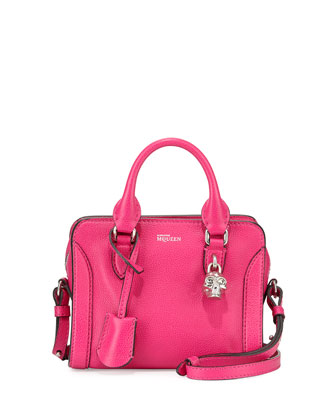 Mini Padlock Zip Satchel Bag, Pink