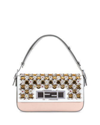 New Baguette Jeweled Shoulder Bag, White/Gray/Multi