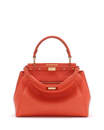 Peekaboo Mini Leather Satchel Bag, Orange