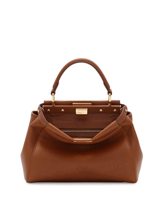 Peekaboo Mini Leather Satchel Bag, Brown