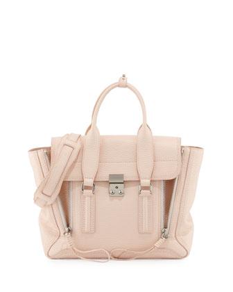 Pashli Medium Satchel Bag, White Peach