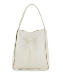 Soleil Large Drawstring Bucket Bag, Off White