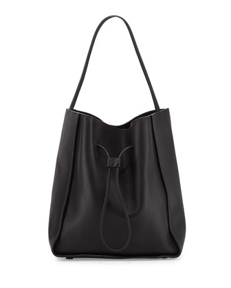 Soleil Large Drawstring Bucket Bag, Black
