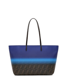 Painted Zucca Medium Roll Tote Bag, Cobalt