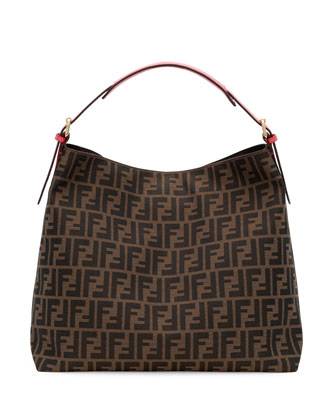 Zucca-Print Large Canvas Hobo Bag, Brown/Pink