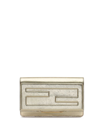 Leather Tube Wallet on a Chain, Gold