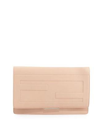 Tube Macro Leather Clutch Bag, Nude