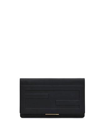 Tube Macro Leather Clutch Bag, Black