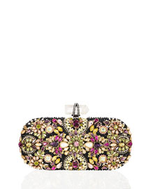 Lily Crystal Embroidered Clutch, Black Multi