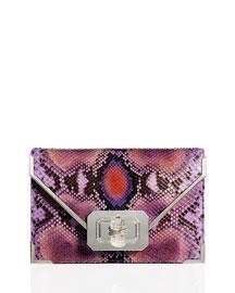 Valentina Python Envelope Clutch Bag, Purple