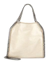 Falabella Mini Fold-Over Tote Bag, Metallic Beige