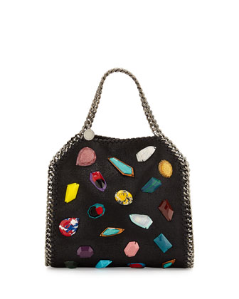 Falabella Stone Embellishment Mini Bag, Black