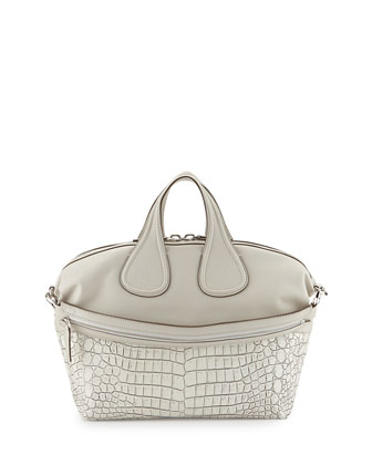 Nightingale Croc-Stamped Medium Satchel Bag, Off White