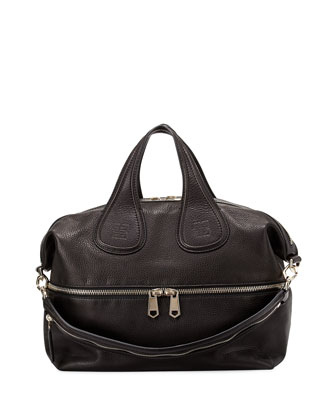 Nightingale Medium Leather Satchel Bag, Black