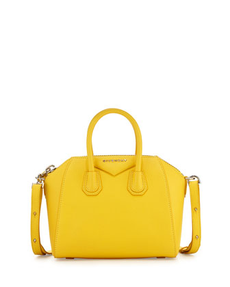 Antigona Mini Leather Satchel Bag, Yellow