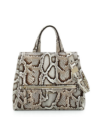 Pandora Pure Small Python Satchel Bag, Natural