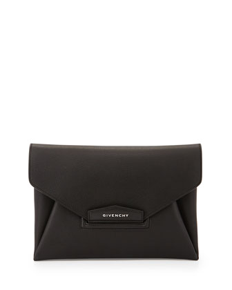 Antigona Leather Evening Envelope Clutch Bag, Black