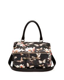 Pandora Medium Leather Shoulder Bag, Magnolia Print