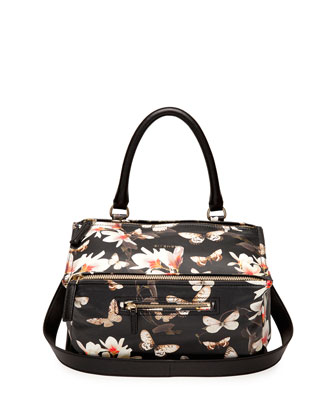 Pandora Medium Leather Shoulder Bag, Magnolia Print