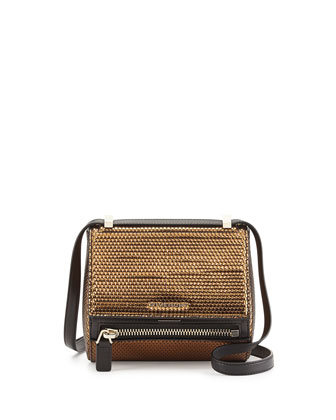 Pandora Metallic Woven Faux-Leather Mini Satchel, Gold