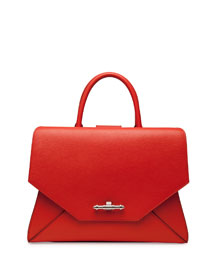 Obsedia Top Handle Small Leather Satchel Bag, Orange