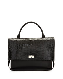 Shark Medium Stamped Crocodile Bag, Black