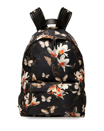 Nylon Backpack, Magnolia Print