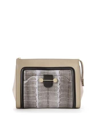 Daphne Leather & Snake Clutch Bag, Beige