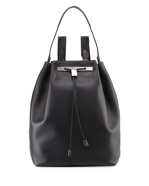THE ROW Backpack 11 Leather Hobo Bag, Black