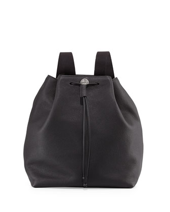 Backpack 10 Grained Leather Drawstring Hobo Bag, Black