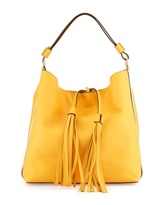 Large Soft Bucket Hobo Bag, Yellow