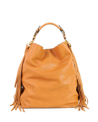 Leather Fringe Shoulder Bag, Caramel