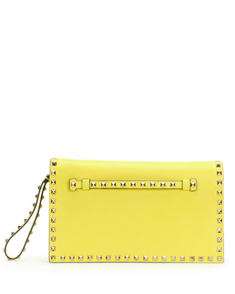 Rockstud Flap Wristlet Clutch Bag, Yellow