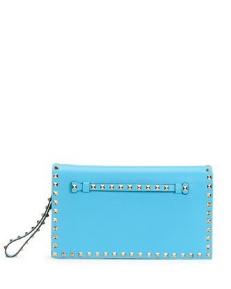 Rockstud Flap Wristlet Clutch Bag, Blue