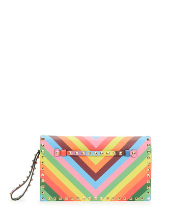 1973 Rockstud Flap Wristlet Clutch Bag