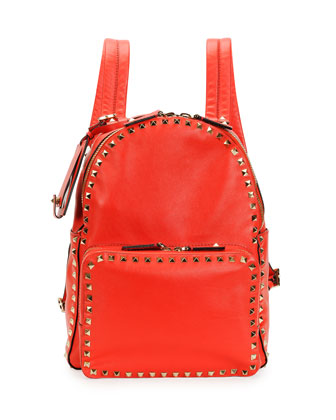 Rockstud Medium Backpack, Red
