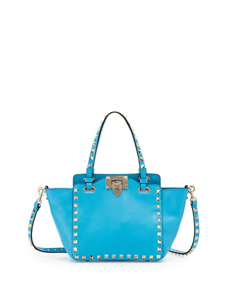 Rockstud Micro Mini Tote Bag, Blue