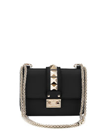 Lock Micro Mini Shoulder Bag, Black