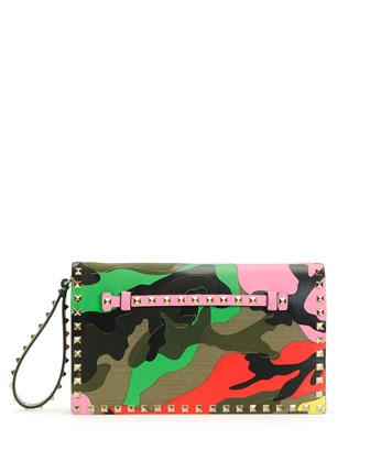 Psychedelic Camo Rockstud Flap Clutch Bag