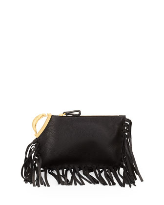 Fringe-Trimmed Scarab-Detailed Clutch Bag, Black