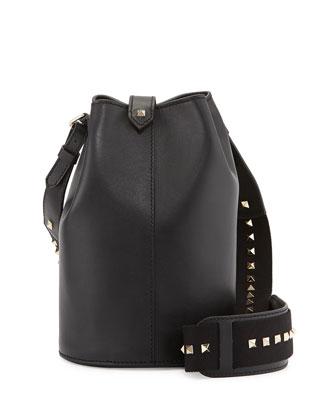 Rockstud Leather Bucket Bag, Black