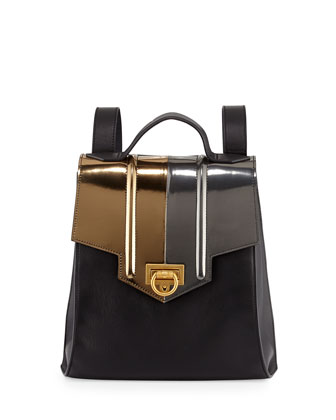 Siren Two-Tone Leather Backpack, Black