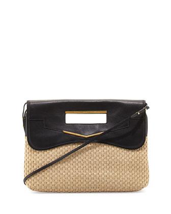Phoenix Raffia Clutch Bag, Natural/Black