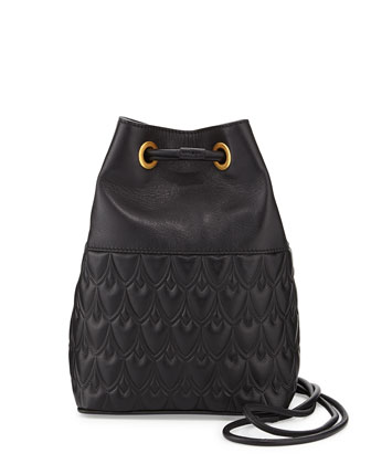 Small Bowery Signature Embossed Bucket Bag, Black