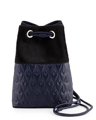 Bowery Small Bucket Bag, Blue/Black