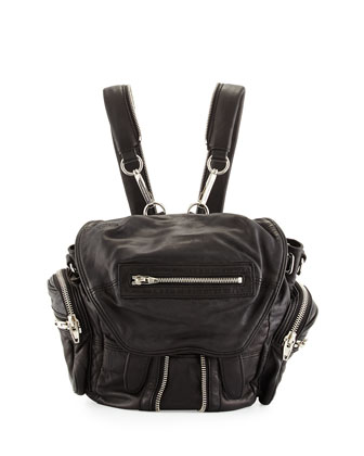 Mini Marti Washed Lambskin Backpack, Black