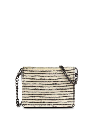 Clee Mini Striped Leather Bag, White/Black