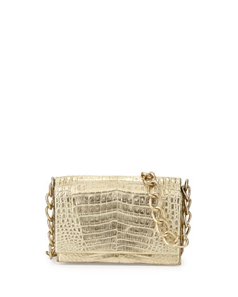 Crocodile Medium Flap Crossbody Bag, Gold Metallic