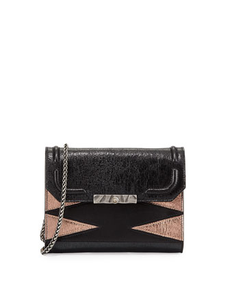 Beckett Metallic Leather Clutch Bag, Black/Rose Gold