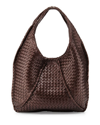 Cervo Large Metallic Hobo Bag, Metallic Dark Brown